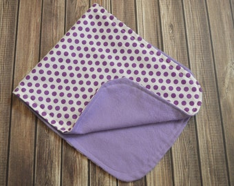 Burp  Cloth - Purple Polka Dots