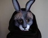 Paper mache rabbit mask Bunny mask Hare mask Masquerade mask Fancy dress Face mask Halloween mask