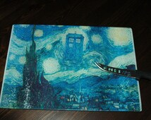Dr Who Tardis Glass Cutting/Serving Board Geeky Decor