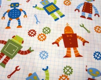 Childrens  Robot Organic Cotton Fabric Called Robot Factory Designed by Caleb Gray Studio for RoberT Kaufman Fabrics