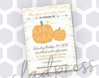 Printable - Pumpkin Baby Shower Invitation - Customizable