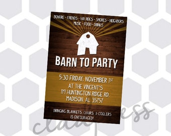 Printable Barn Party Invitation - Customizable
