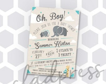 Printable - Oh, Boy! Baby Shower Invitation - Customizable