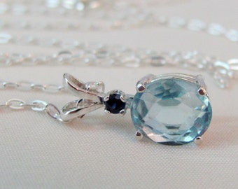 Sky Blue Topaz Necklace, Sterling Silver, Blue Topaz Accent Pendant, 10x8mm Blue Topaz Gemstone, December Birthstone, Wedding Jewelry, Bride