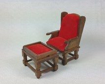"""MINIATURE CHAIR and OTTOMAN, 1:12 Scale, Wood and Red """"Velvet"""", Vintage Dollhouse Furniture"""