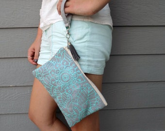 Hand Painted Silver and Mint  Mandala Wristlet Clutch- Painted Clutch-Made to Order