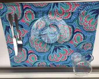 Blue and Pink Paisley Reversible Placemat set of (4)