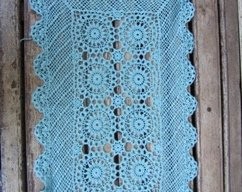 Gorgeous Vintage Hand Dyed Lace Runner/Doily - blue/turquoise