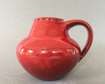 Studio  Keramik glossy red handled Vase WGP.- 1970s -  West Germany Pottery. WGP.