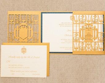 Naval Academy Wedding Invitation_Laser Cut wedding Invitation Inspired by Naval Academy Gate
