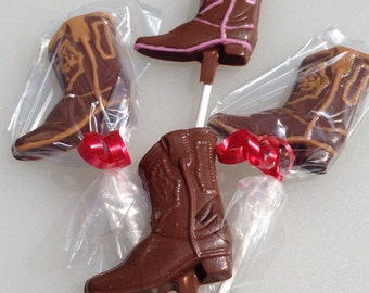 12 Chocolate Cowboy Boots Western Birthday Party Horses Lollipops