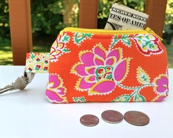 Change Purse / Zipper Pouch / Gift Card Holder, with Key Clip, Jennifer Paganelli Fabric, Machine Washable