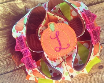 Fall bow, pumpkin bow, thanksgiving bow, autumn bow, fall pumpkin bow, monogram bow, pumpkin hair bow, fall hair bow