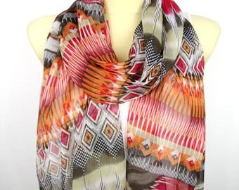Red Geometric Scarf - Fashion Scarf - Fabric Scarf - Women Shawl - Unique Scarf - Printed Scarf - Original Scarf - Boho Scarf