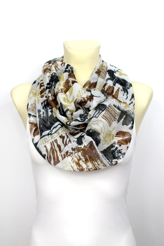 Circle Book Scarf - Brown Infinity Scarf - Unique Fabric Scarf - Printed Viscose Scarf - Women Fall Fashion Accessories - Gift Idea for her
