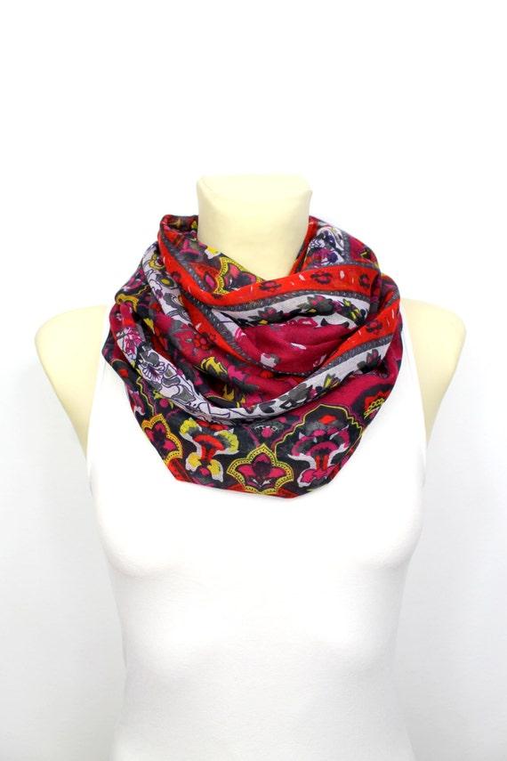 Floral Fashion Scarf - Pink Infinity Scarf - Loop Scarf - Circle Fabric Scarf - Women Shawl - Tube Unique Scarf - Boho Scarf