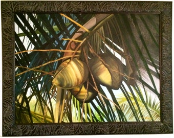 Coconuts, Canvas Giclee , Oil Painting, Buddy Brown, Island Mon, Tropical Art, Palm Tree Art, Oil Painting, Origonal Art