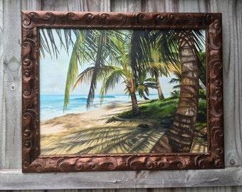Tropical Surf Beach Scene Canvas Giclee By Buddy Brown