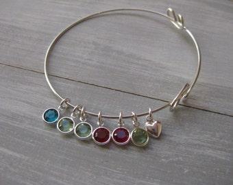 Sterling Silver Adjustable Bangle Bracelet Birthstone Jewelry Mothers Bracelet New Mom Gift Mothers Jewelry Grandmothers Jewelry