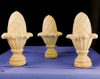 Terra Cotta Pineapple Finials: Set of SIX for your Drapes/Curtains or Garden