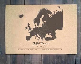 Cork Push Pin Travel Map - 16x20 - CUSTOMIZED - EUROPE
