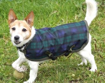 Waterproof dog coat, fleece lined -  Black Watch Tartan - all sizes available