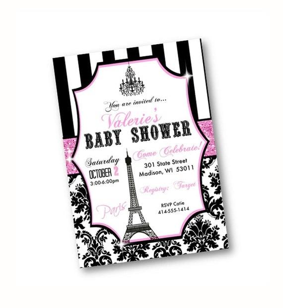paris baby shower invitation eiffel tower pink black damask paris
