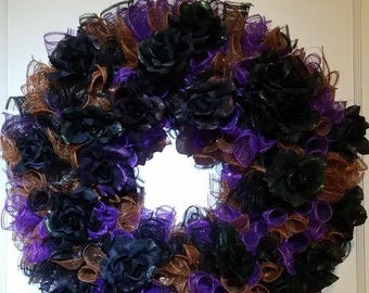 Deco Mesh Halloween Wreath with Black Roses