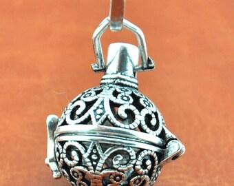 Antique Silver Filigree Lucky Magic Box Locket Charm Pendants,DIY Accessory Jewelry Making ----24x35mm--G1706