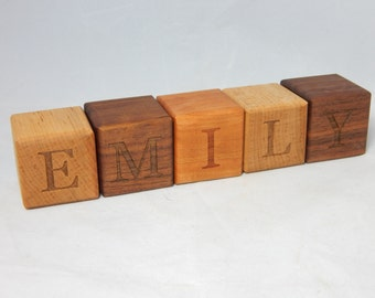 Wooden Name Blocks - Wood Baby Name Blocks - Natural Wood Name Blocks - Baby Block - Baby Shower Gift