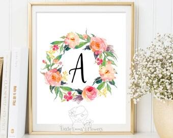 printable flower nursery initials calligraphy monogram nursery print nursery monogram Initial Monogram floral Nursery Letter Monogram Art 53
