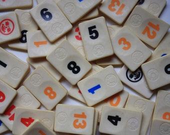 Set  of 17  Vintage Rummikub Tiles - Number Tiles for Crafts