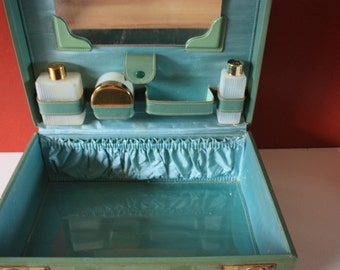 Travel Vanity Suitcase 1940's  - Green Shortrip Top Grain Leather  - Train Travel Case