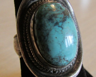 Turquoise and Sterling Silver Ring Size 8 1/4