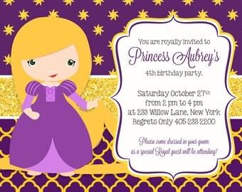 Rapunzel Invitation, Princess Rapunzel Party Invitation, Princess Party, Princess Birthday, Tangled Invitation
