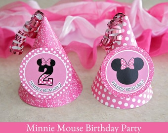 Minnie Mouse Birthday, Minnie Mouse Hat printable, Party Hat Printable, Minnie Mouse Party Printable, 2nd Bithday party hat