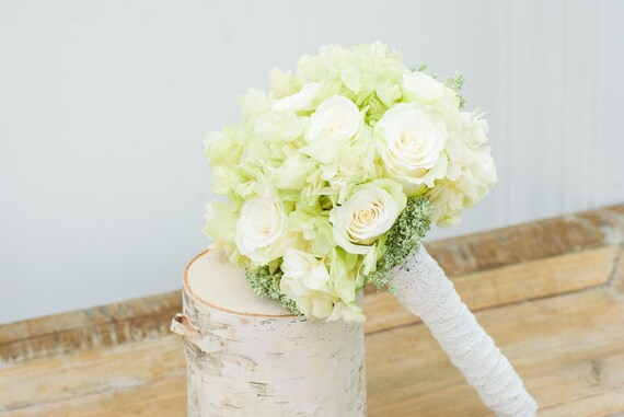 Wedding bouqet roses and hydrangea, dried and preserved flowers, bridal bouquet,  bridesmaids bouquet, white and green flowers