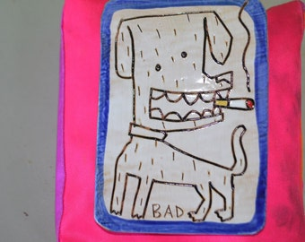 Vintage Small  Folk Art Dog Smoking Tile Handmade by Animalia Pottery