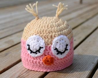 Crochet Owl Hat, Sleeping Owl Hat, Sleepy Owl Crochet Hat, Owl Hat