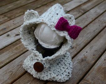 Crochet Bear Cowl, Adult Hood, Bear Hood, Crochet Hood Cowl