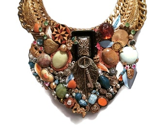 ALICE IN WONDERLAND boho gypsy style statement bib collage necklace