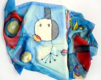 Joan Miro scarf. Hand painted silk scarf.  Handpainted shawl wrap. Joan Miro shawl. Abstract scarf. Silk chiffon scarf hand painted.