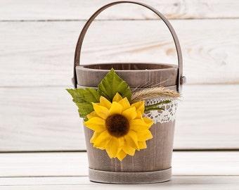 Flower Girl Basket Sunflower Wedding Basket Bridal Basket Champagne Wedding Rustic Wedding Bucket Lace and Roses Flower Girl Basket