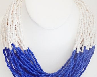 Royal Blue and Beige Beaded Necklace / Multi Strand Bib Necklace.