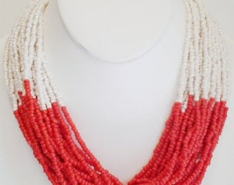 Tangerine and Beige Beaded Necklace / Red Orange Necklace / Multi Strand Bib Necklace.
