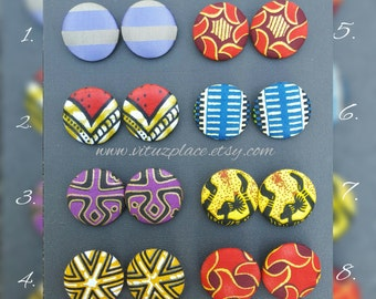 Large Ankara Button Earrings