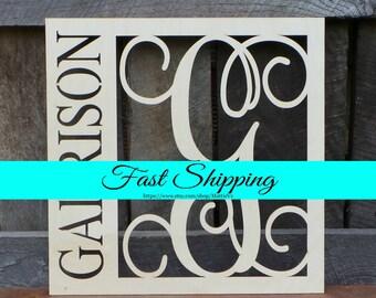 "Wooden Monogram - 20"" Wood Monogram - Monogram Door Hanger - Family Monogram Wreath - Housewarming Gift - Wedding Gift - Personalized Gift"
