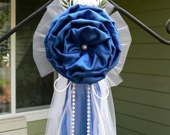 Royal Blue Pew Bows, Chair Bows, White Wedding Church Aisle decorations