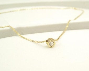 Simple and trendy14K solid gold round solitaire  Cubic Zirconia pendant necklace