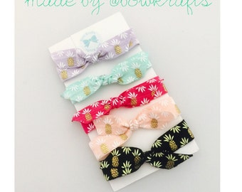 Pinneapple pastel hair ties with bow knot